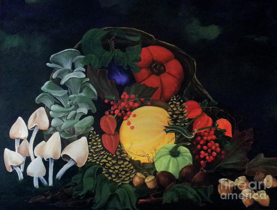 Oil Painting Painting - Holiday Harvest by D L Gerring