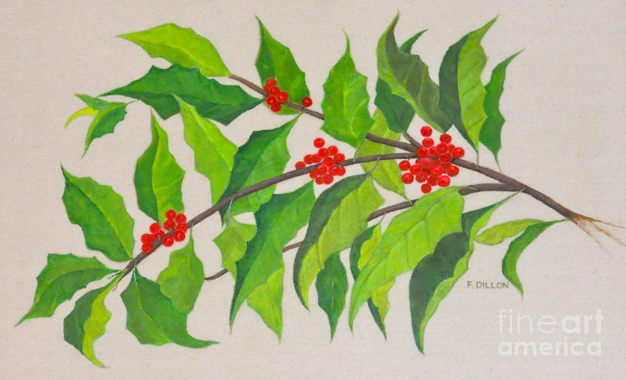 Holly Painting - Holiday Holly by Frances  Dillon