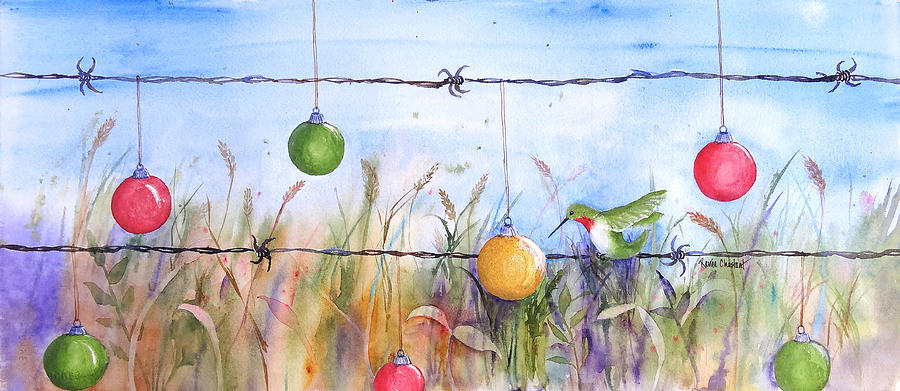 Hummingbird Painting - Holiday Hummer by Renee Chastant