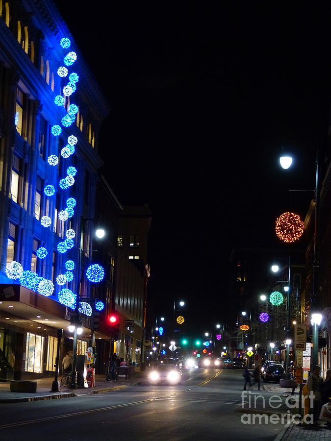 Portland Maine Christmas.Holiday Lights At Meca On Congress Street Portland Maine