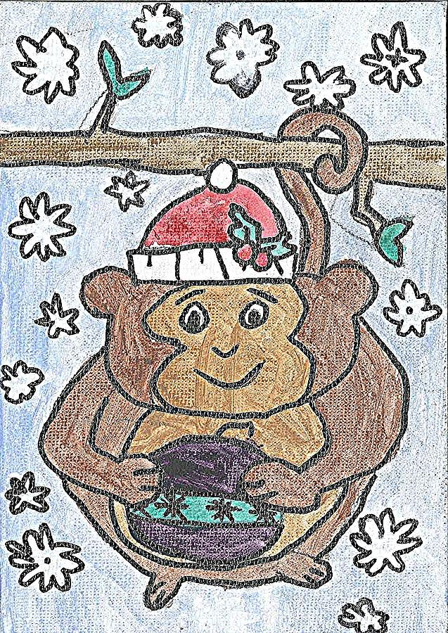 Holiday Monkey Painting by Fred Hanna
