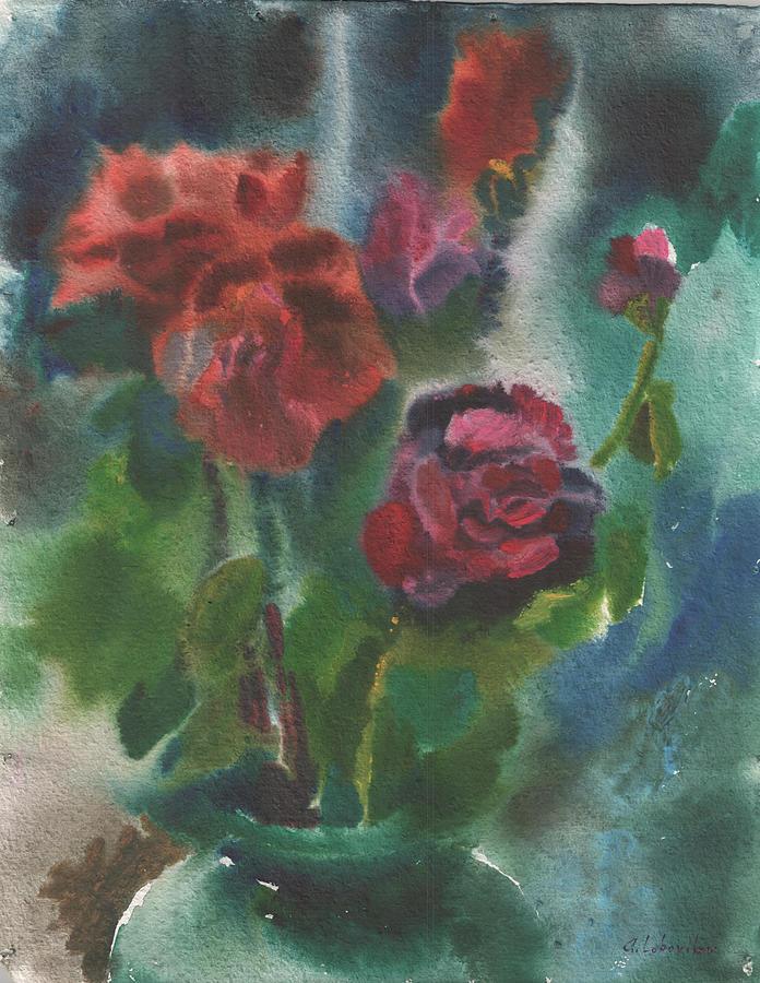 Roses Painting - Holiday Roses by Anna Lobovikov-Katz