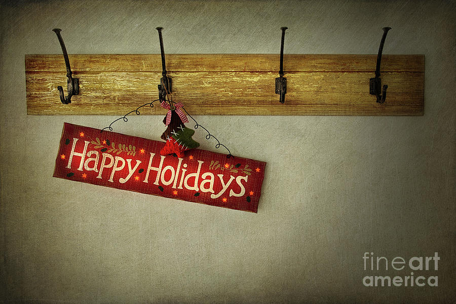 Abstract Photograph - Holiday Sign On Antique Plaster Wall by Sandra Cunningham