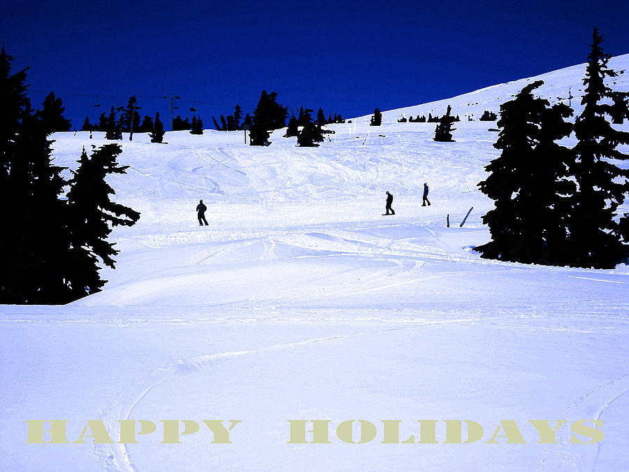 Skiers Digital Art - Holiday Skiers At Mt Hood  Oregon by Glenna McRae