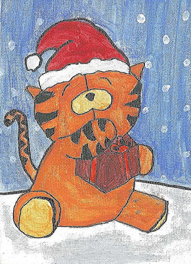 Holiday Tiger Painting by Fred Hanna