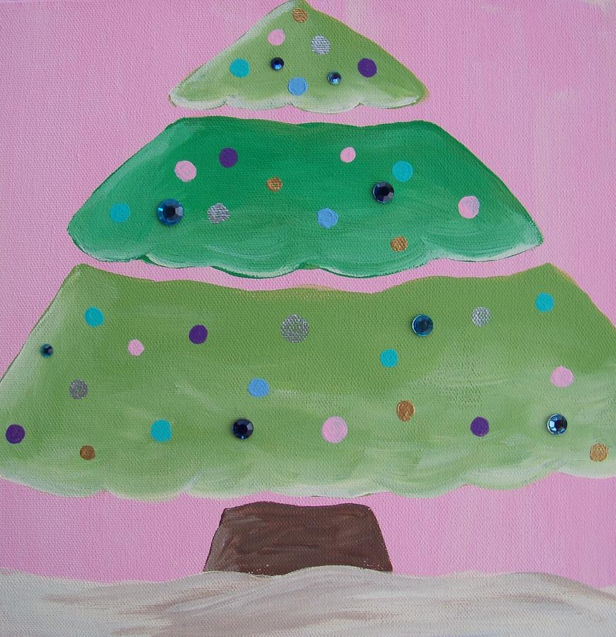 Holiday Painting - Holiday Tree With Pink by Tracie Davis