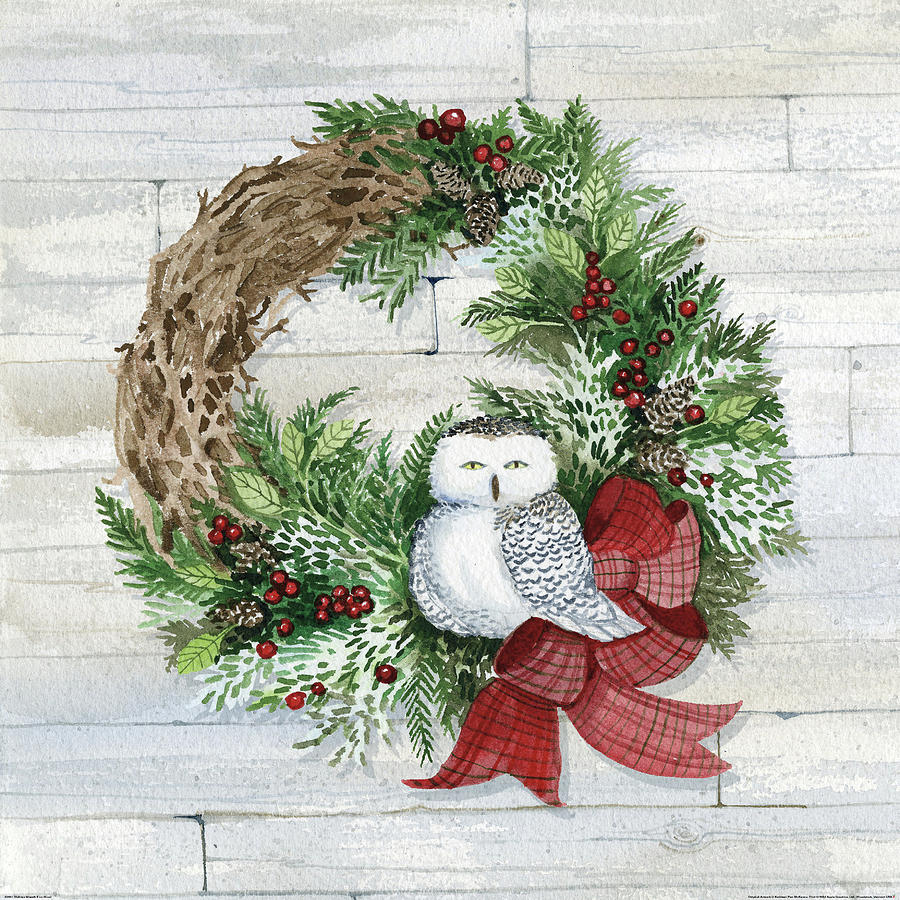 Animal Painting - Holiday Wreath II On Wood by Kathleen Parr Mckenna
