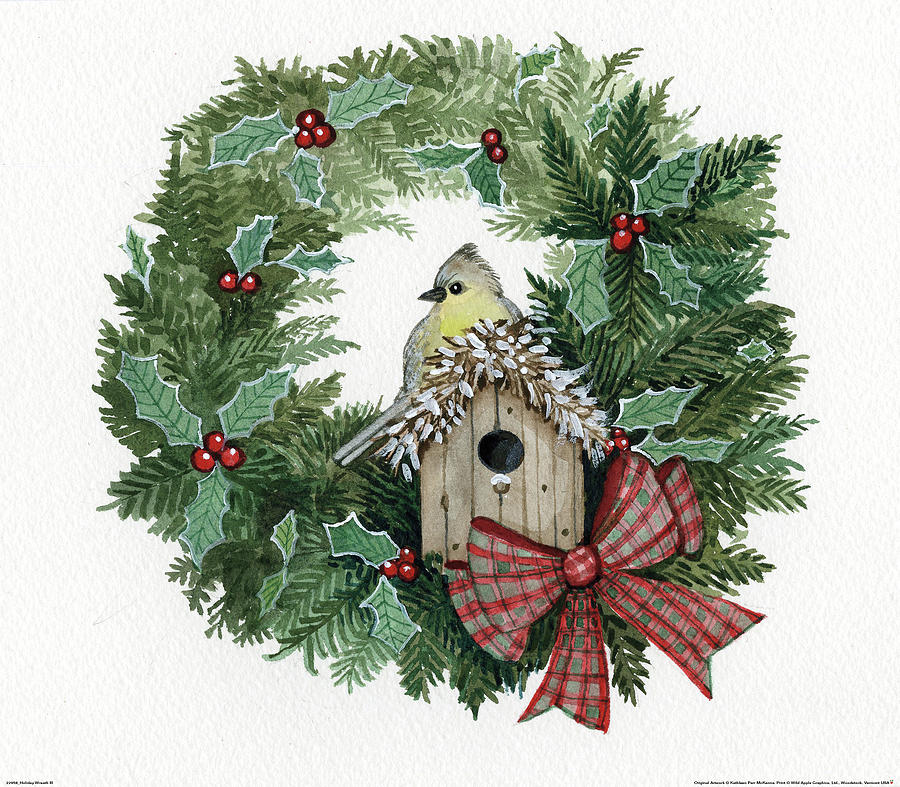 Animal Painting - Holiday Wreath IIi by Kathleen Parr Mckenna
