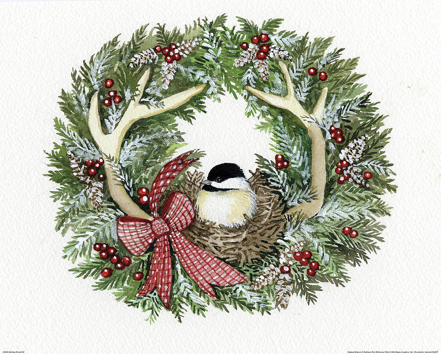 Animal Painting - Holiday Wreath Iv by Kathleen Parr Mckenna