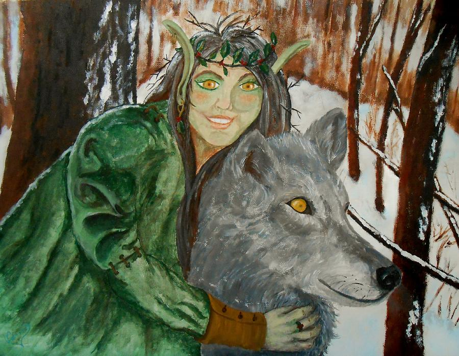Wolf Painting - Holly Queen by Carrie Viscome Skinner