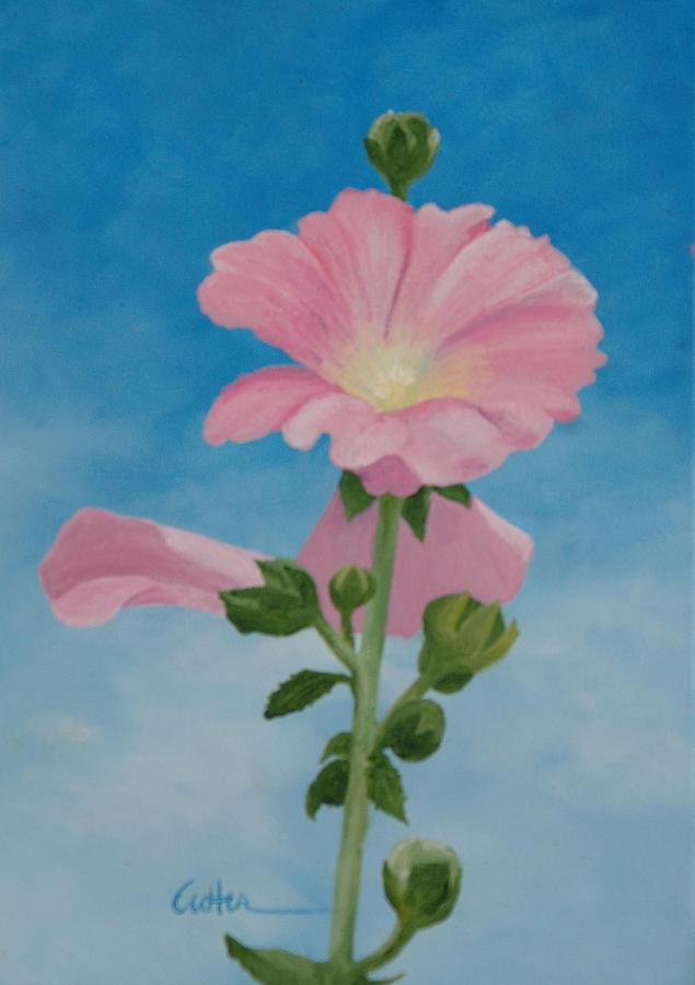 Hollyhock Painting - Hollyhocks by Diane Cutter