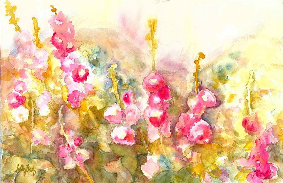 Hollyhocks Painting - Hollyhocks by Kelly Perez