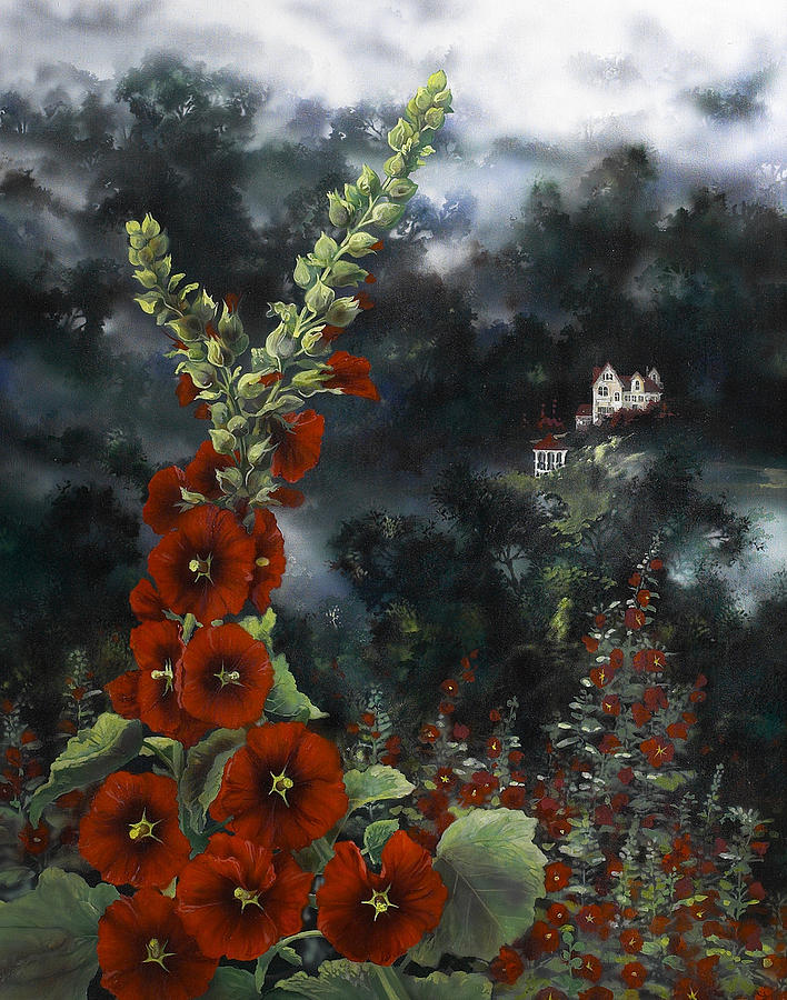 Flowers Painting - Hollyhocks by Lynette Yencho
