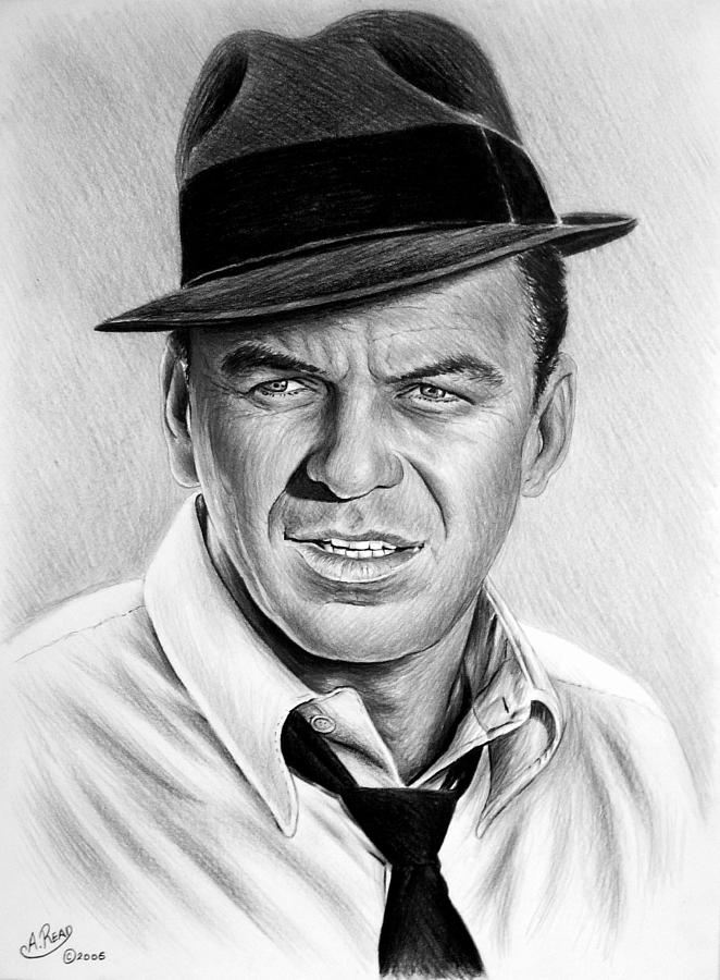 Andrew Read Drawing - Hollywood Collection Ole Blue Eyes by Andrew Read