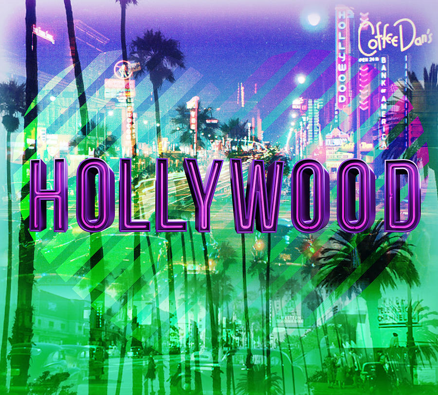 Hollywood Digital Art - Hollywood Day And Night by Gina Dsgn