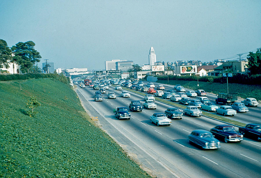Los Angeles Photograph - Hollywood Freeway 2 1954 by Cumberland Warden