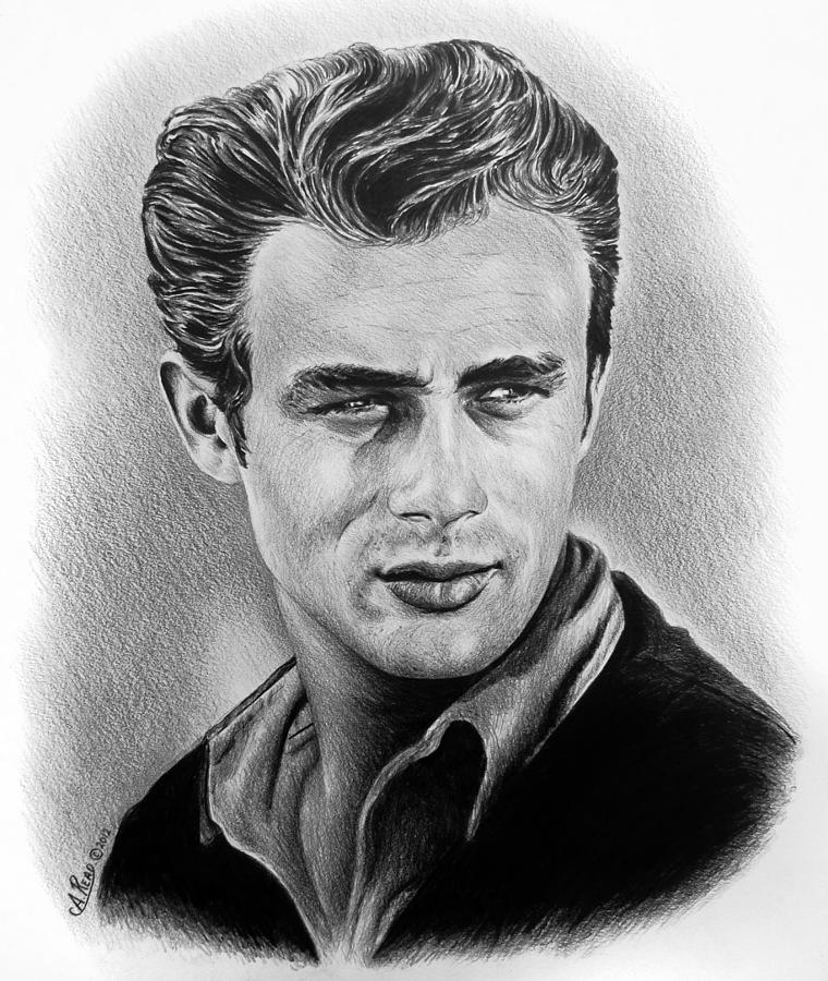 Portraits Drawing - Hollywood Greats James Dean by Andrew Read