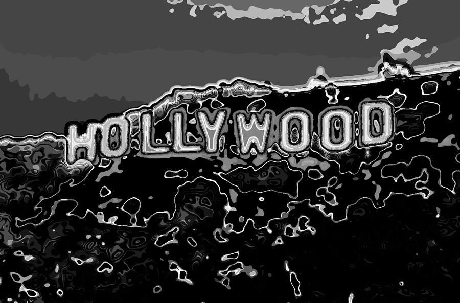 Hollywood Sign Abstract Black And White Photograph By Eti Reid