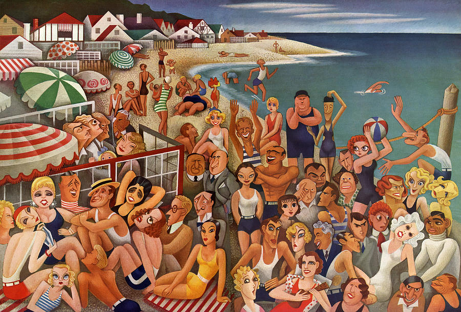 Hollywoods Malibu Beach Scene Painting by Miguel Covarrubias