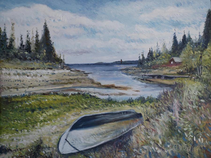 Impressionism Painting - Holmsund Lighthouse Vasterbotten Sweden by Enver Larney