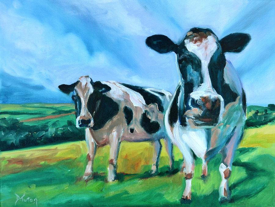 Two Cows Painting - Holstein Amoogos by Donna Tuten
