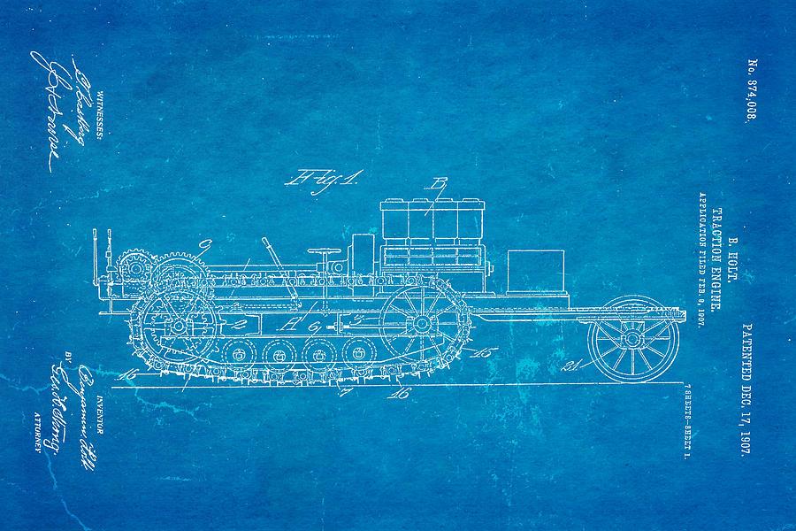 Holt traction engine patent art 1907 blueprint photograph by ian monk automotive photograph holt traction engine patent art 1907 blueprint by ian monk malvernweather Image collections