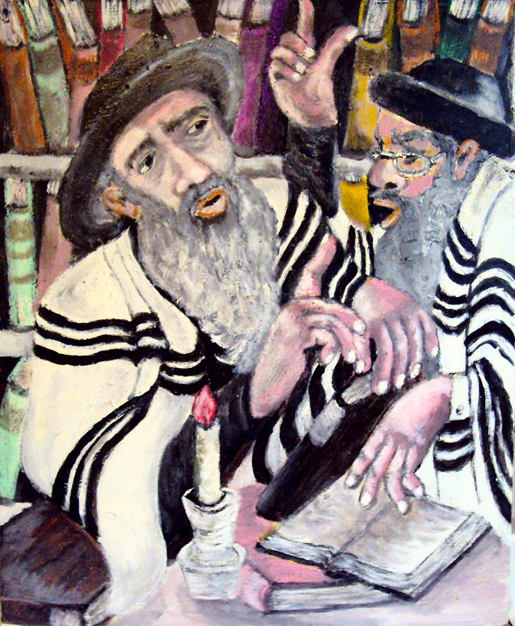 Jewish Symbol Painting - Holy Bible by Mimi Eskenazi