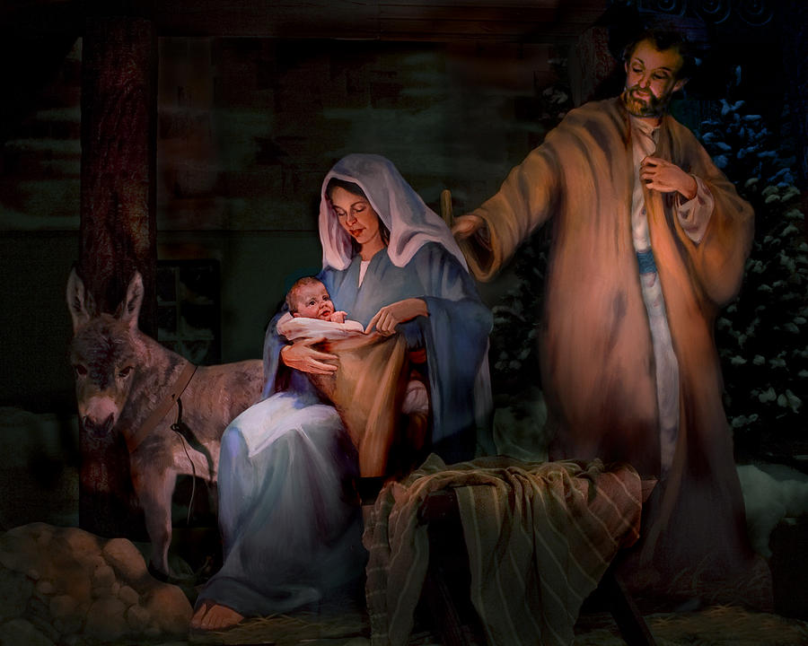 Nativity Painting - Holy Child by Jean Hildebrant