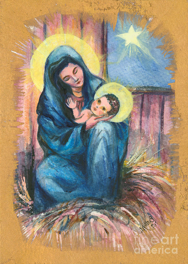 Christmas Greeting Cards Painting - Holy Christmas No. 1  by Elisabeta Hermann