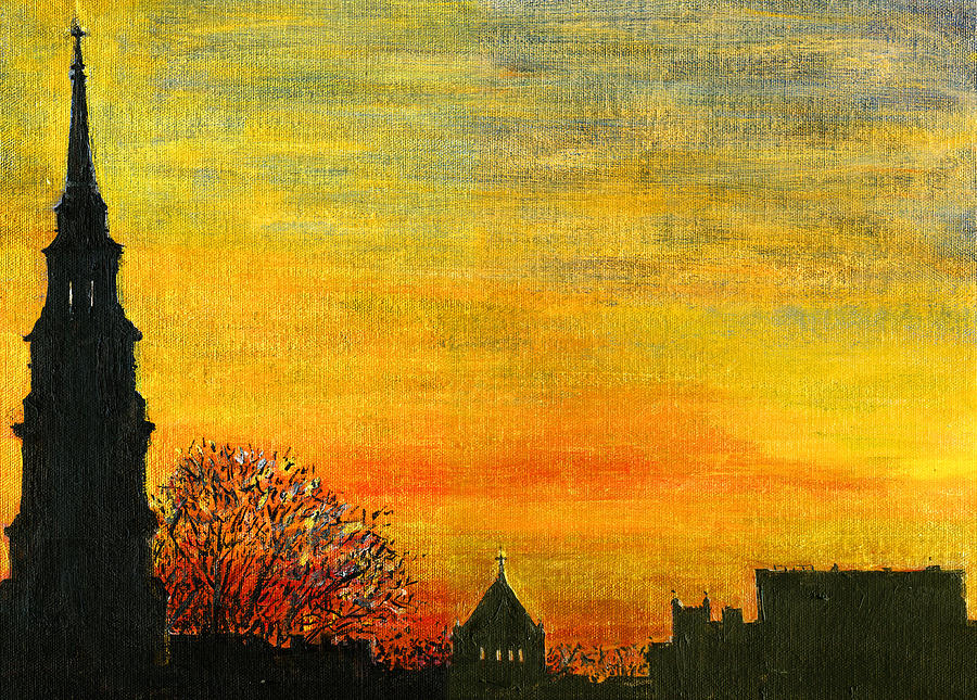 Charleston Painting - Holy City Sunset by Thomas Michael Meddaugh