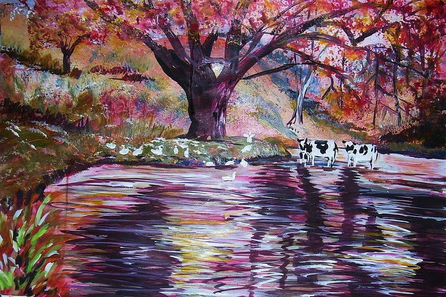 Pond Landscape Painting - Holy Cow by Linda Vaughon