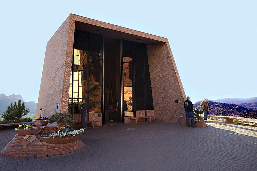 Sedona Photograph - Holy Cross Or Red Rock Chapel Rear View by Bob and Nadine Johnston