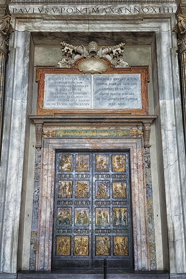 Ancient Photograph - Holy Door by Joan Carroll