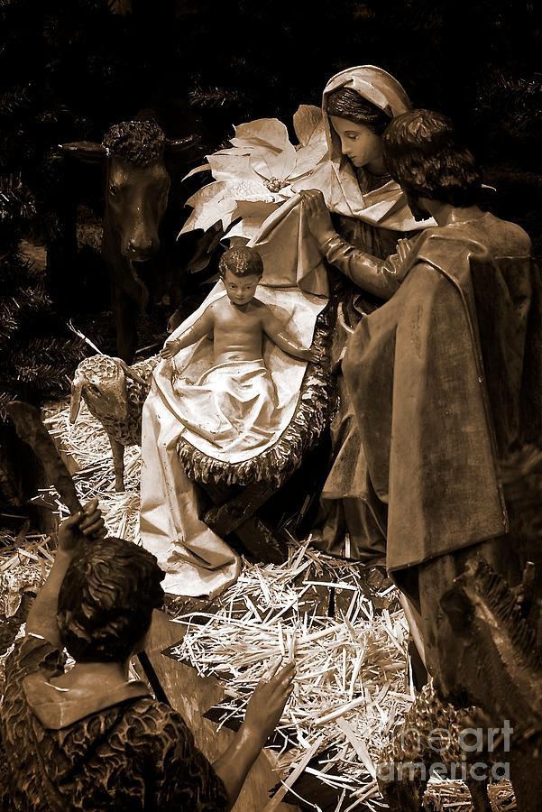 Holy Family Nativity - Color Monochrome Photograph