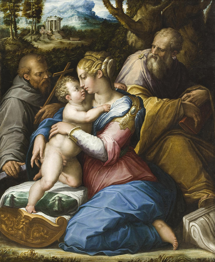 Giorgio Vasari Painting - Holy Family With Saint Francis In A Landscape by Giorgio Vasari