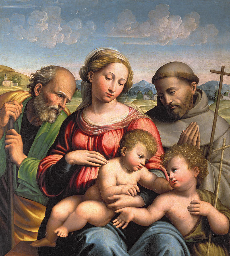 Landscape Painting - Holy Family With The Infant St. John The Baptist And St. Francis by Innocenzo da Imola