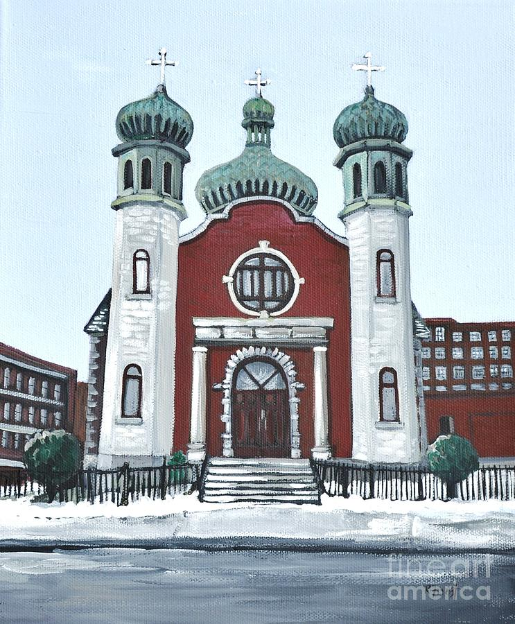 Ukrainian Catholic Churches Painting - Holy Spirit Ukrainian Catholic Church Pointe St. Charles by Reb Frost