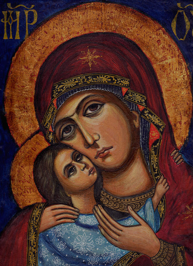 Icon Painting - Holy Virgin With The Child by Ketti Peeva