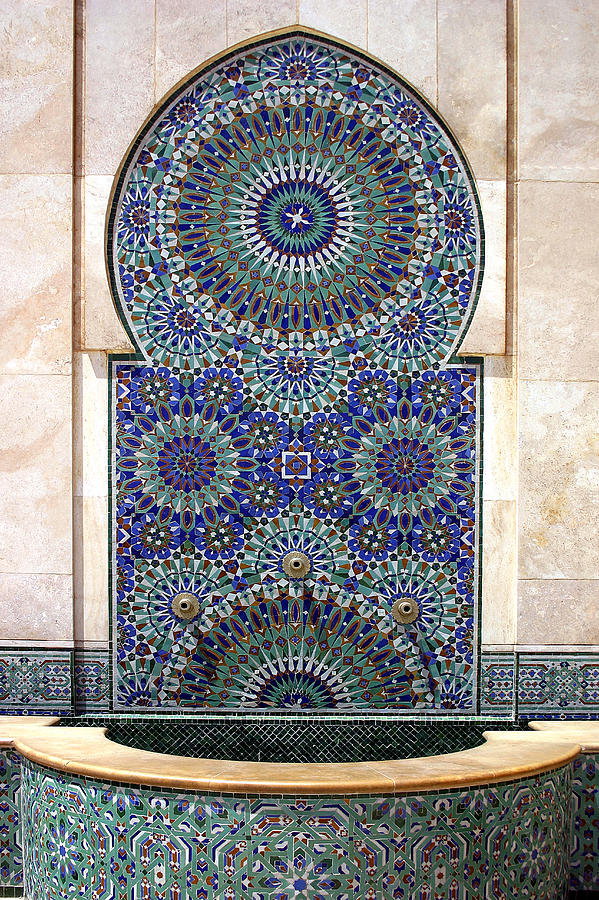 Mosaic Photograph - Holy Water Fountain Hassan II Mosque Sour Jdid Casablanca Morocco  by PIXELS  XPOSED Ralph A Ledergerber Photography