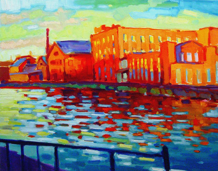 Holyoke Painting - Holyoke Canal by Caleb Colon