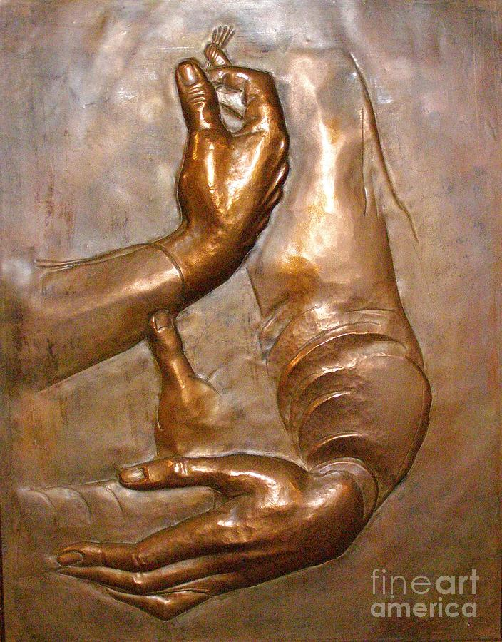 Copper Relief - Homage to Leonardo by Gyula Friewald