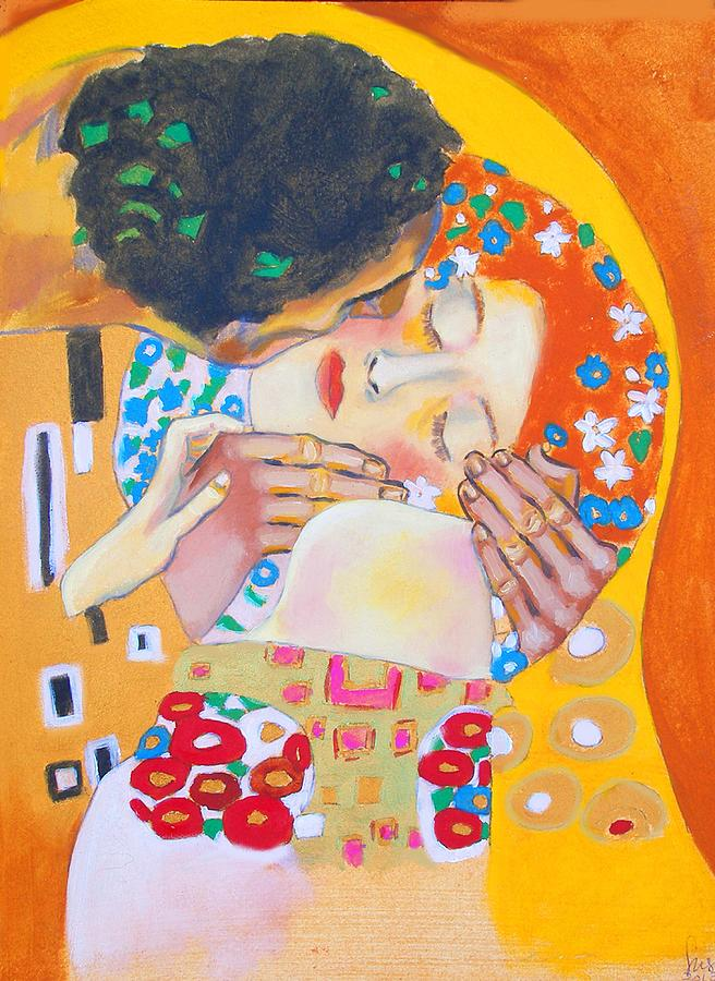 Klimt Painting - Homage To Master Klimt The Kiss by Susi Franco