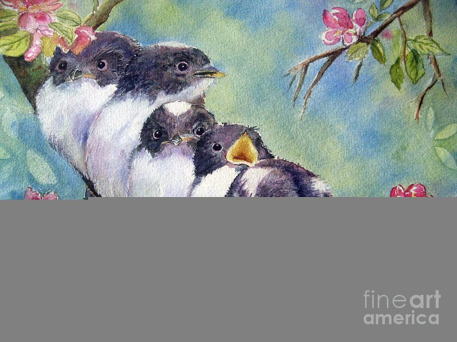 Baby Birds Painting - Home Alone by Patricia Pushaw
