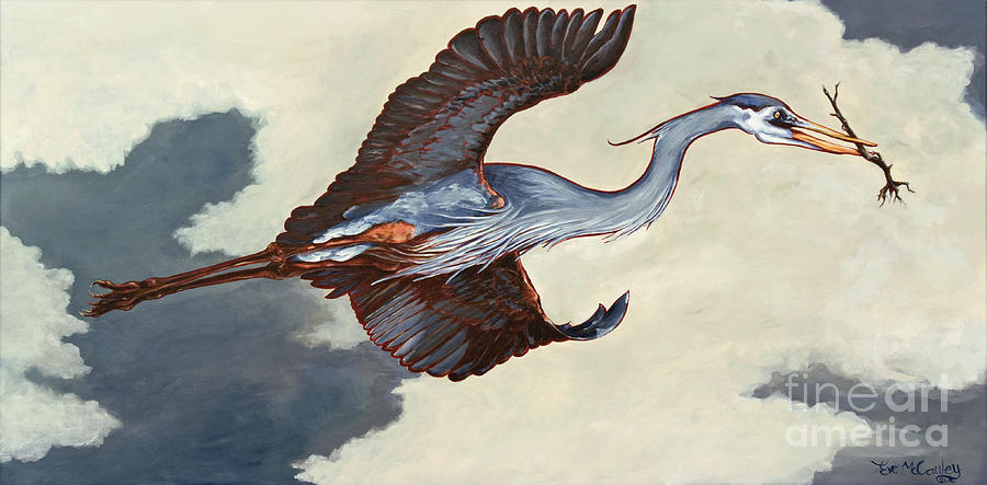 Great Blue Heron Painting - Home Bound Heron by Eve McCauley