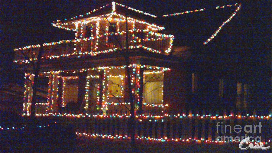 Home Holiday Lights Digital Art - Home Holiday Lights 2011 by Feile Case