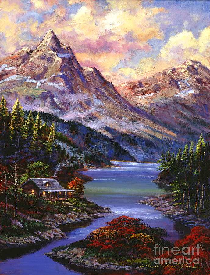 Landscape Painting - Home In The Mountains by David Lloyd Glover