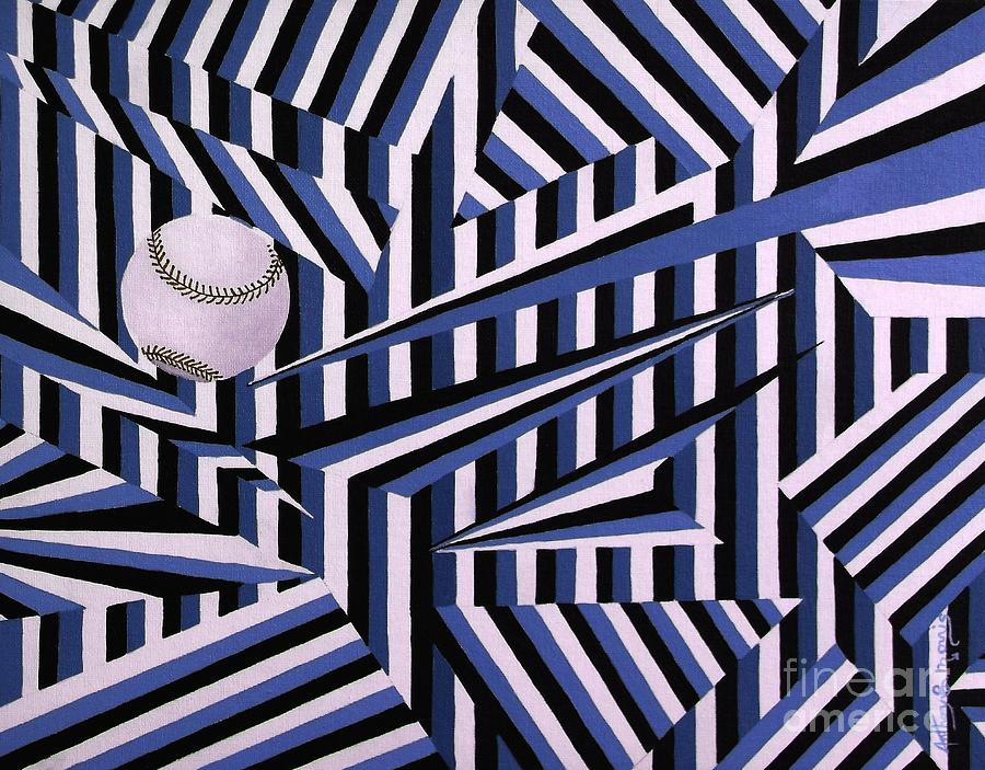 Home Run Painting - Home Run In Blue by Anthony Morris
