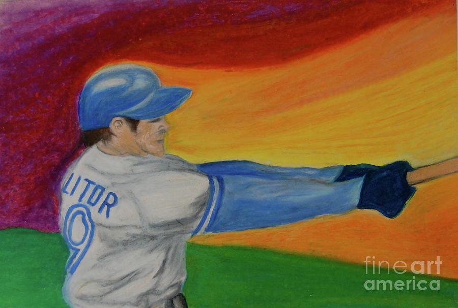 Baseball Drawing - Home Run Swing Baseball Batter by First Star Art