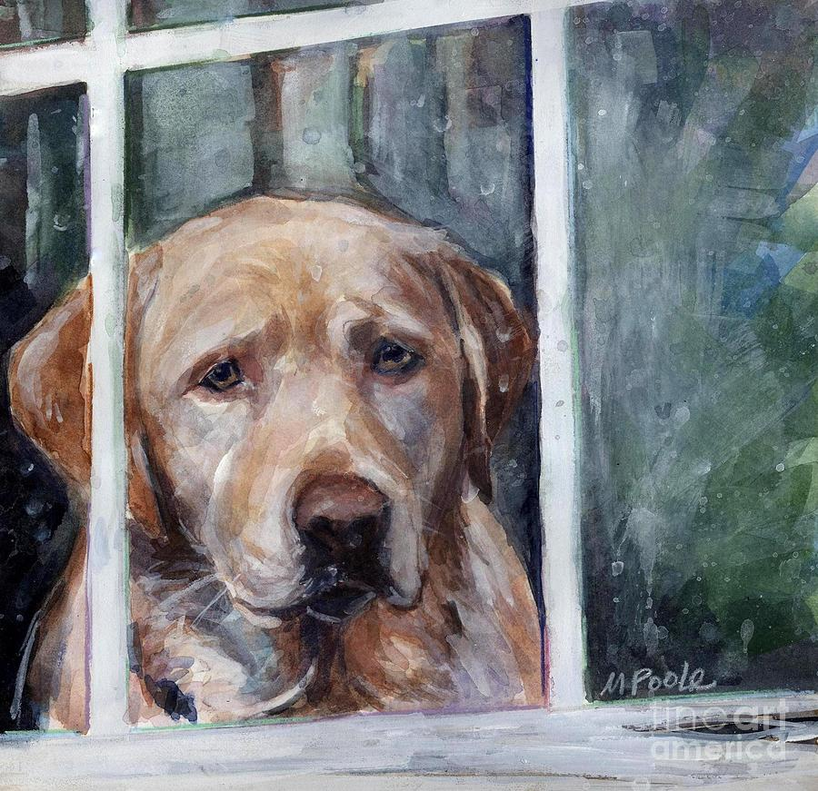 Yellow Dog Painting - Homebody by Molly Poole