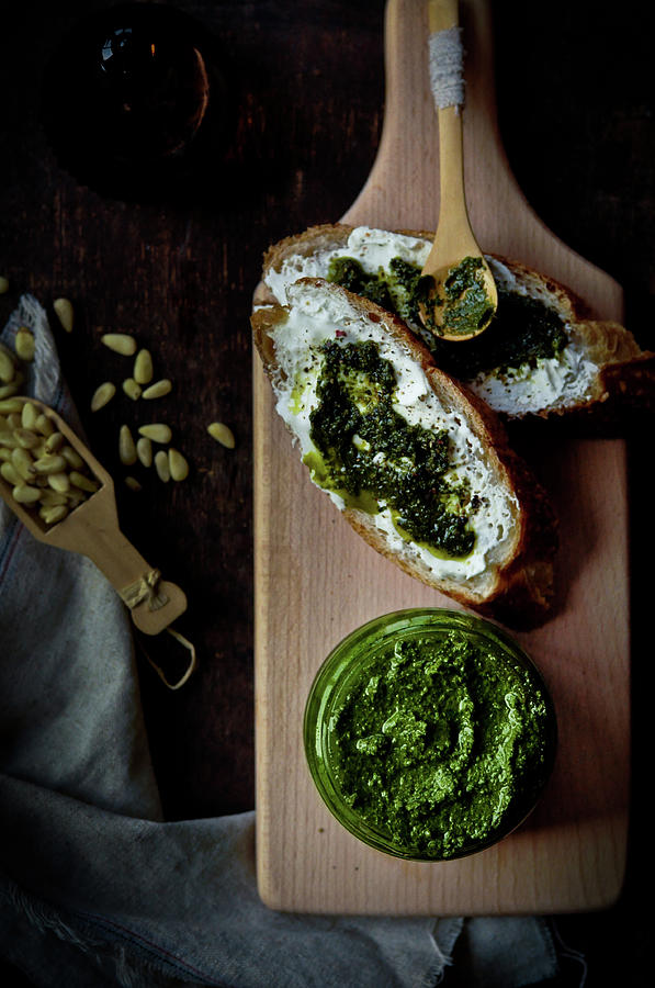 Homemade Pesto With Baguette Photograph by All Rights Reserved @tailortang
